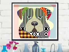 American Bulldog Pop Art Print  Painting Animal Lover Pet Gift Wall Decoration