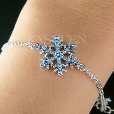 w Swarovski Crystal Blue Xmas Snowflake Snow Flake Holiday Winter Chain Bracelet