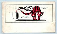 ORIGINAL c1905 PIPE DREAM & CAT TOBACCO SMOKING ART POSTCARD