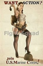 WW2 Picture Photo Pin up Girl Join the MARINES  2118