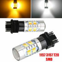 2PCS White/Amber 3157 1157 20 LED DRL Switchback Turn Signal Parking Light Bulbs