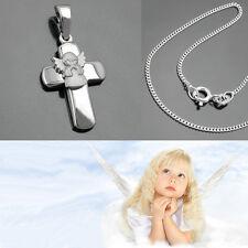 betender Schutzengel Kreuz Anhänger Kinder Taufe Kommunion  mit Kette Silber 925