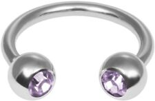 Two Lavendar Gem Circular Barbell Stainless Steel Ring 14 Gauge Ships from US