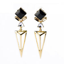 Boucles d`Oreilles Clous Doré Art Deco Triangle Carré Noir Vintage Gothique BB 8