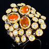 Unique Design Natural Orange Opal 925 Sterling Silver Ring Size 8.5/R116779