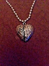 """Large Silver Heart Shaped Wings Pendant & 22"""" Snap Bead Necklace - Valentines"""