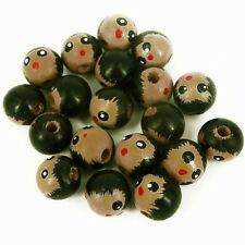 Pack of 20 Wooden Head Beads, 16 mm Faces -Hole 4 mm W16