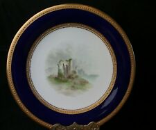 Antique Hand Painted Gold and Cobait Plate