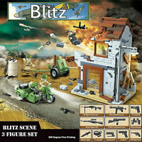 WW2 BLITZ Set Military Army Soldiers Sidecar Building Blocks Fit Lego UK SELLER