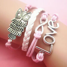 NEW Jewelry fashion Leather Cute owl/Love Charm Bracelet Silver lots Style SL29