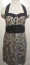 Fifties Chic 50s Rockability Leopard Halter Neck Dress Size Large