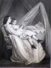 TABLEAU  LITHOGRAPHIE  PAR TOULMOUCHE  DATée 1866  SOMMEIL DE BEBE  CADRE  DORé