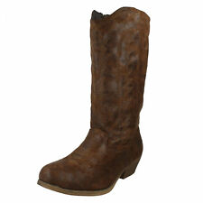 Ladies Spot on Cowboy BOOTS The Style - F50048 6 UK Tan Standard