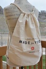 Canvas yoga drawstring bag/backpack by Manduka, one size, New