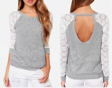 Fashion Womens Long Sleeve Shirt Casual Lace Blouse Loose Cotton Tops T-Shirt