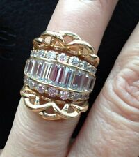 Huge Solid 14k Cigar Band Cz Baguette Engagement Ring With Ring Guard Sz 6.25