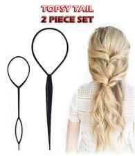 4Pcs Easy Plastica Topsy una treccia coda di cavallo Tail Styling Maker Clip Strumento Nero