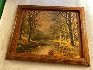 Litho October Morn by Robert Wood USA Vintage Texturized Lithograph