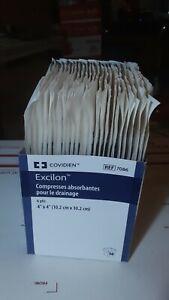 """200 CT 4"""" X 4"""" Excilon Drain Sponges 7086, 100 STERILE Twin Packs Total Exp 2024"""