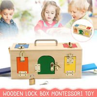Wooden Montessori Practical Material 10 Lock Box Kids Early Educational Toy Gift