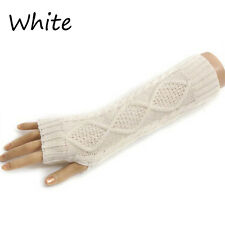 Ladies Solid Fingerless Knit Mitten Women Long Gloves Winter Arm Warmer