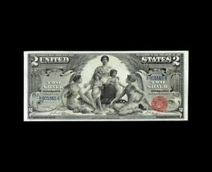 REMARKABLE 1896 $2 SILVER CERTIFICATE EDUCATION NOTE NEAR GEM UNC