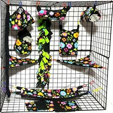 Flowers and Hearts * 15 PC Sugar Glider Cage set * Rat * double layer Fleece
