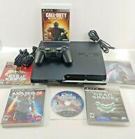 🔥 Sony PlayStation 3 PS3 Slim 160GB w/ 6 Games COD 3 RDR Tested Bundle Lot