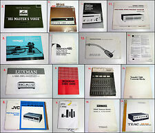 Assorted THORENS NAKAMICHI Bang & Olufsen HMV etc AV User Manuals