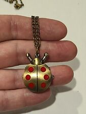 Lucky Lady Bug Pocket Watch Antique Style Necklace Chain Quartz