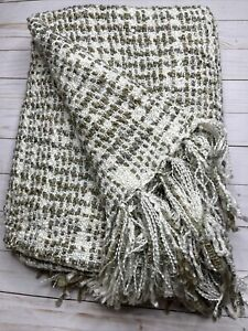 Acrylic Knitted Throw Blanket with Fringe Soft Brown Ivory