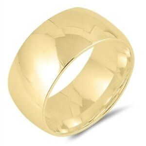 Wedding Ring Sterling Silver 925 Yellow Gold Plated Band Width 10mm Size 8