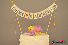 Just married wedding cake topper MINI Bunting Banner TOPPING