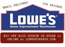 4x Lowe's 20 OFF 100 INSTORE & ONLINECoupons @lowesforpros inbox delivery