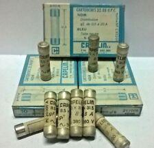 3 FUSIBLES CARTOUCHE CAPELIN 380v / 8 A = 8 amp TYPE gf  / 8,5 x 31,5 mm