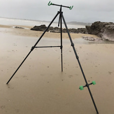Deluxe Beach Pro Tripod System For 2 Rods Reels Extendable In Case Sea Fishing