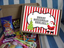 PERSONALISED RETRO SWEETS CANDY GIFT BOX MERRY CHRISTMAS X'MAS PARTY FAVOUR - S