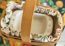 Longaberger 2000 Parsley Booking basket liner & Miniature Pottery baking dish