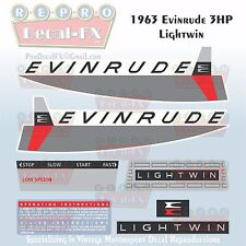1963 Evinrude 3 HP Lightwin Outboard Reproduction 7 Pc Vinyl Decals 3302-03-12