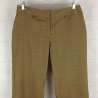 NINE & Co womens size 6P stretch brown flat front straight cuffed dress pants
