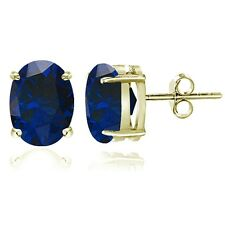 Gold Tone over Sterling Silver Created Blue Sapphire 8x6mm Oval Stud Earrings