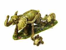 Elephant and Baby Bejeweled Trinket Box