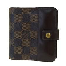 Auth LOUIS VUITTON Compact Zip Bifold Wallet Damier Leather Brown N61668 08BK956