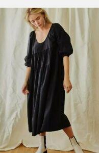 Free People Syd Poplin Cotton Midi Dress. Black. Size Medium. Bnwt