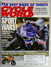 CYCLE WORLD MAGAZINE BACK ISSUE HARLEY HONDA 2006 JULY SUZUKI GSXR BMW F800