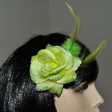 Flower Bright Green Rose Hair Clip Glitter Feathers Accessories