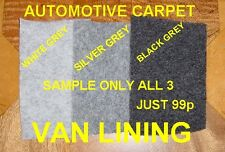 GREY BLACK WHITE CAMPER VAN CAMPERVAN CARPET LINING TRIM CARAVAN TRUCK COACH CAR