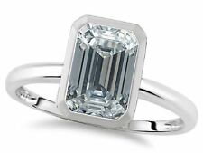 WHITE DIAMOND TOPAZ* EMERALD CUT WEDDING ENGAGEMENT RING SZ 5 SZ 7 SZ 8