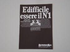 advertising Pubblicità 1969 AUTORADIO AUTOVOX MELODY