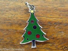 Vintage silver BEAUCRAFT CHRISTMAS TREE ENAMEL ORNAMENTS charm BEAU #B